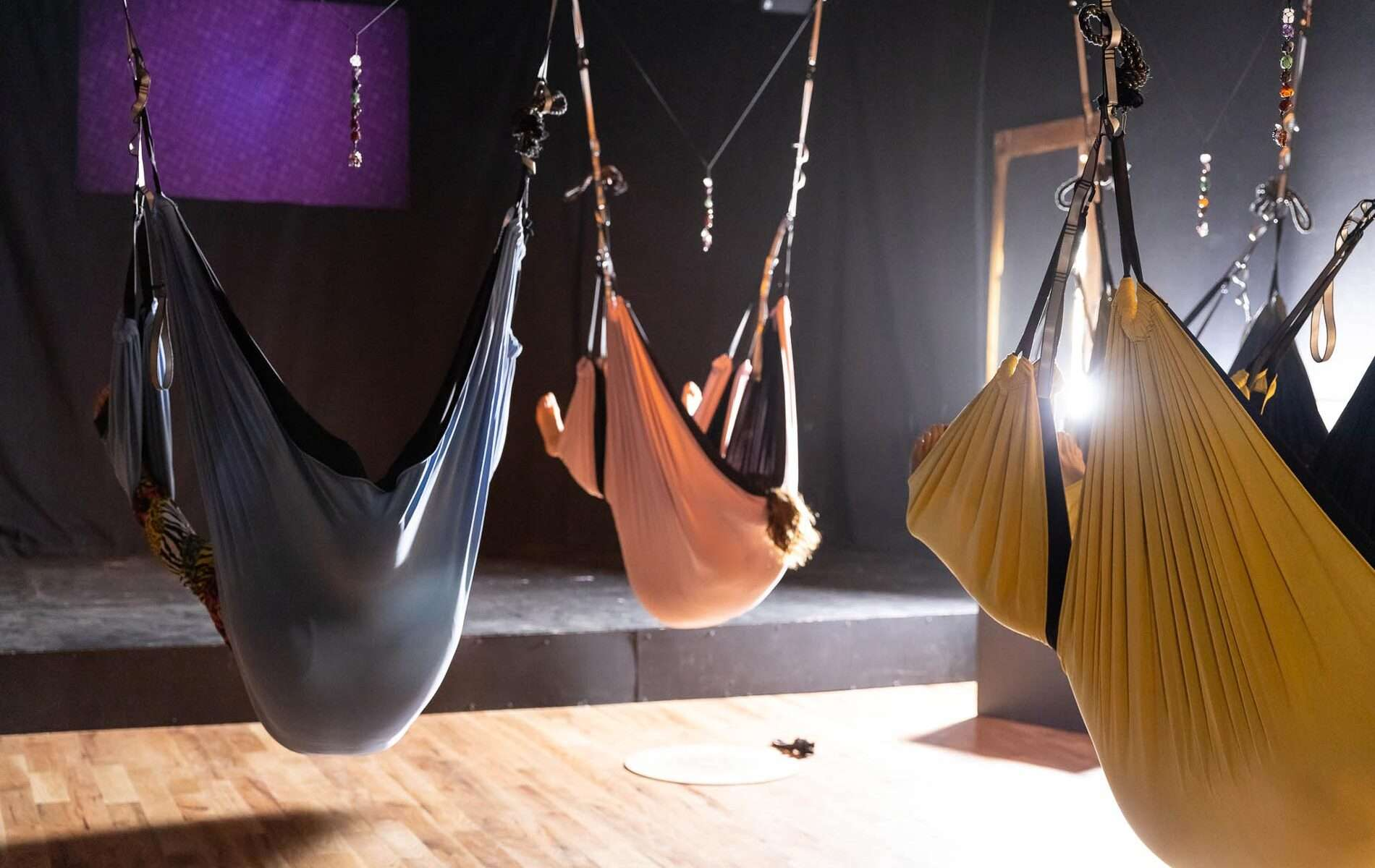hammock yoga class in Crested Butte